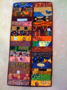 African Quilt Market (Part Three), 15 x 30 inches,  by O.V. Brantley, 2008. #74/100 of the African Canvas Memory Quilt series.