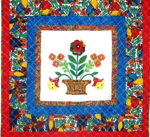 Inspiration, 42 x 42 inch applique quilt by O.V. Brantley, 2004.