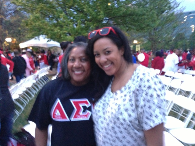 O.V. Brantley and India Brantley celebrating the arrival of the Delta Sigma Theta Centennial Torch in Atlanta