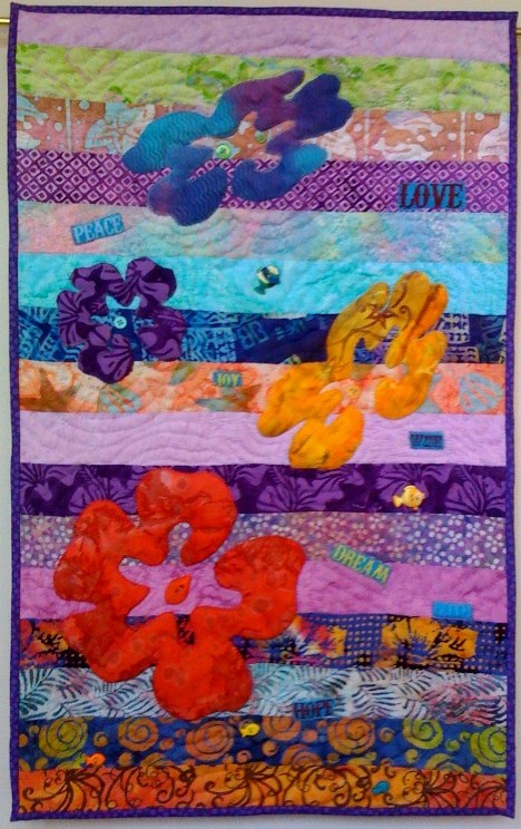 Swimming Upstream #1, 16 x 31 inch art quilt, by O.V. Brantley, 2010.