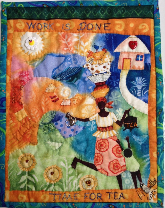 Time For Tea #1, 8 1/2 x 11 inch art quilt by O.V. Brantley, 2013.