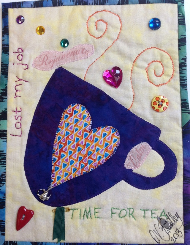 Time For Tea #3, 8 1/2  x 11 inch art quilt by O.V. Brantley, 2013