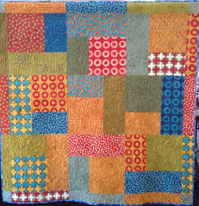 Be Calm, 50 x 50 inch art quilt, by O.V. Brantley, 2014. For sale at ETSY.com/shop/ovbrantleyquilts