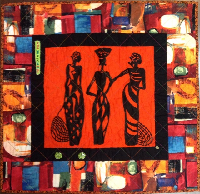 A Woman of Sophisticated Substance #7, 26 x 24 inch art quilt, by O.V. Brantley, 2013. For sale at ETSY.com/shoop/ovbrantleyquilts