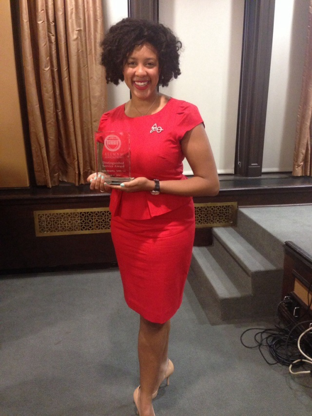India Brantley receives Greek Leader award.