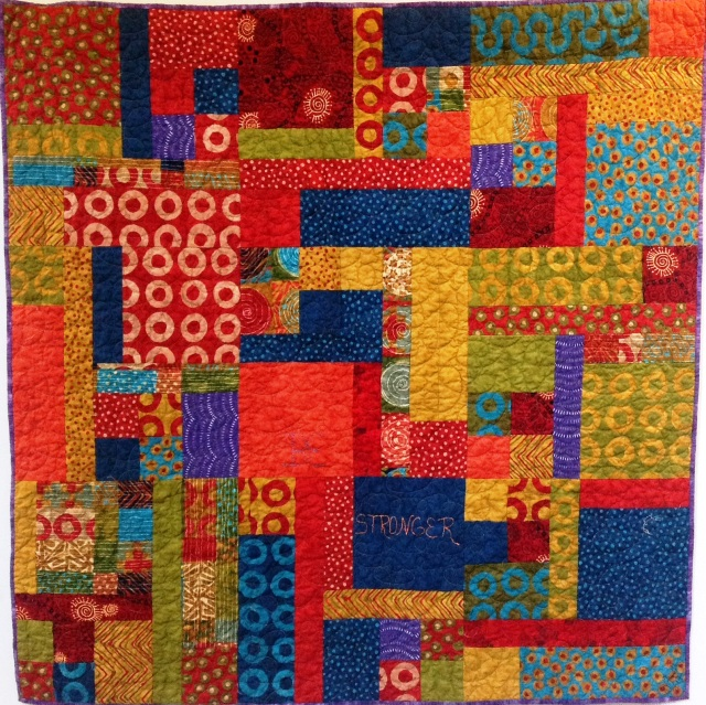 Be Stronger, 48 x 48 inch art quilt, by O.V. Brantley, 2014