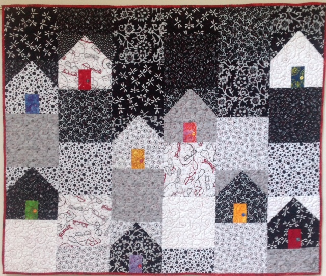 Home Alone on a Friday Night, 48 x 40 inch art quilt, by O.V. Brantley, 2014.