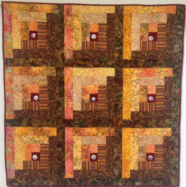 Sitting on My Patio With a Glass of Merlot, 48 x 48 inch art quilt by O.V. Brantley, 2014. For sale at ETSY.com/shop/ovbrantleyquilts