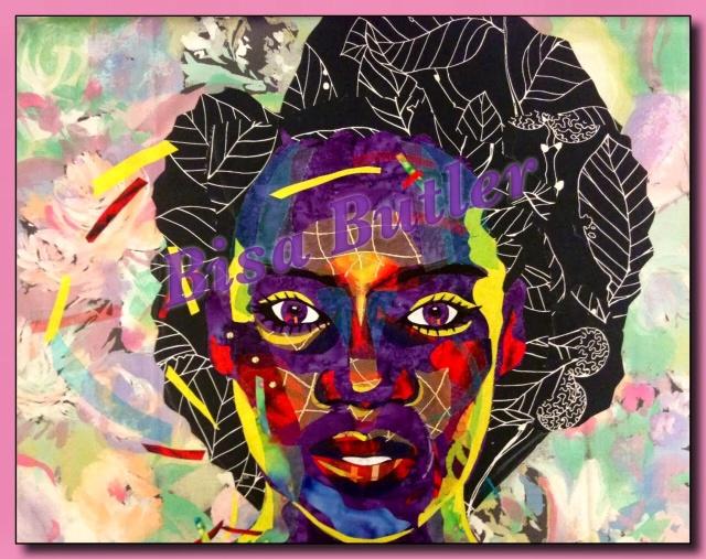 Collage portrait quilt by Bisa Butler