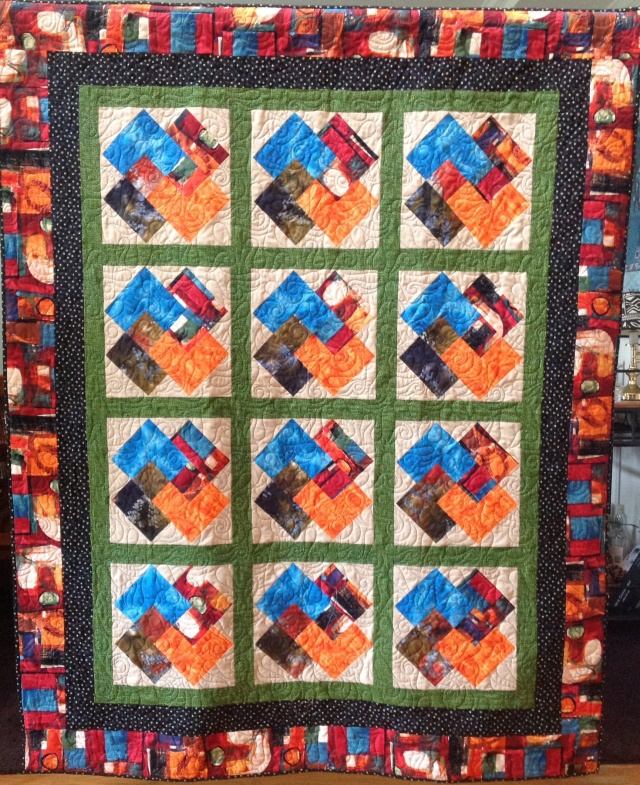 Duane's Winning Hand, 58x73 inch quilt, by O.V. brantley, 2014.