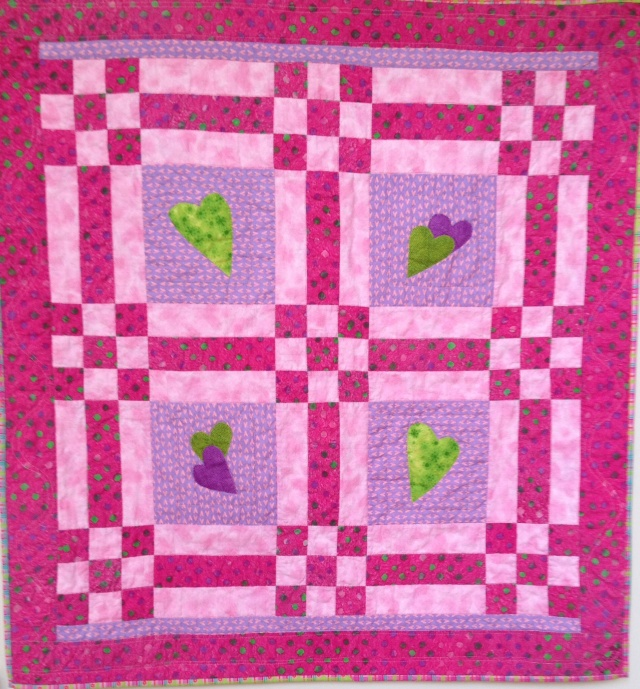 Welcome to the World Ava Marie Greenwood! 40x42 inch baby quilt by O.V. brantley, 2014.