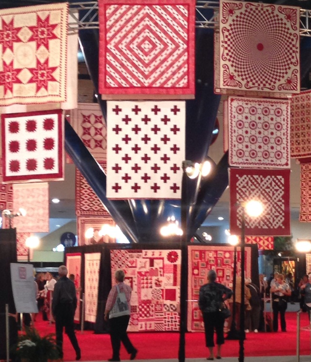 Red and white quilts at International Quilt Festival, Houston, Texas