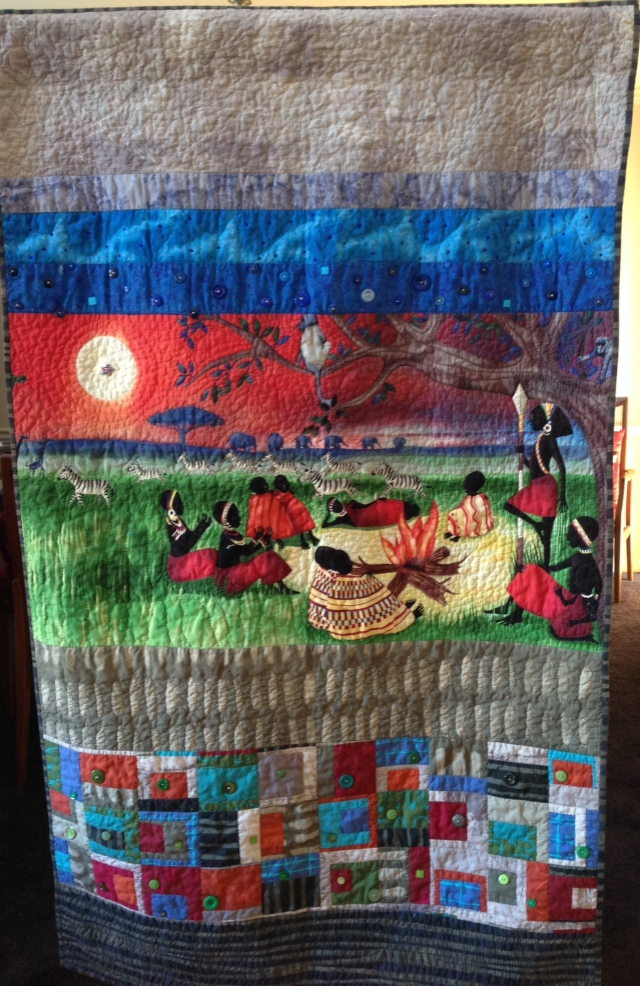 Woman's Work is Never Done, 36 x 62 inch art quilt by O.V. Brantley, 2014. For sale at ETSY.com/shop/ovbrantleyquilts