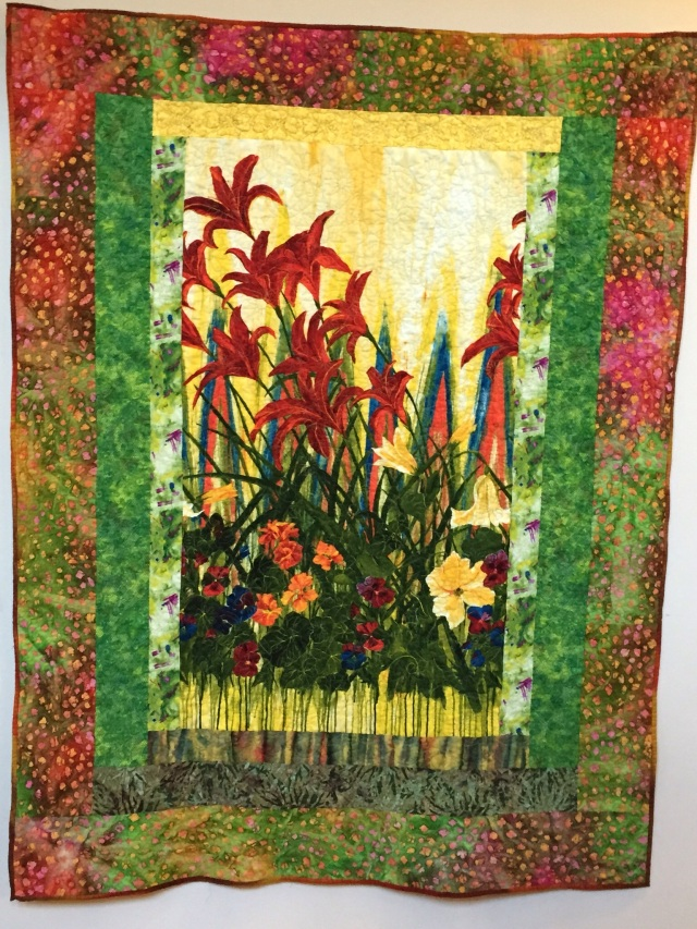 Give Yourself Flowers Growing Free, 49 x 62 inch art quilt by O.V. Brantley, 2014. For sale at ETSY.com/shop/ovbbrantleyquilts