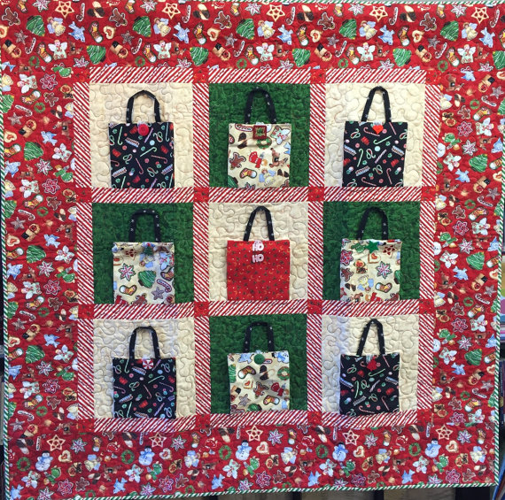Christmas Shopping, 48x48 inch quilt by O.V. Brantley, 2014. For sale at ETSY.com/shop/ovbrantleyquilts