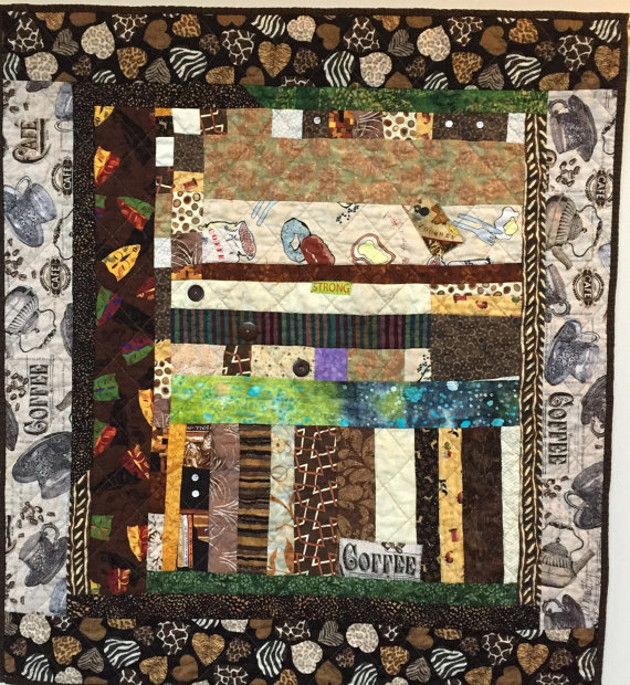 After My Coffee, 30x33 inch art quilt by O.V. Brantley, 2014.  For sale at ETSY.com/shop/ovbrantleyquilts