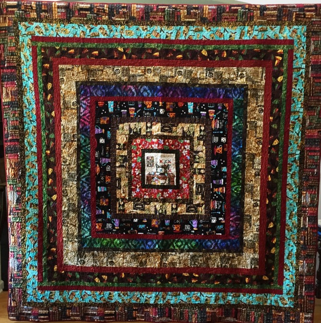 Quilt Around the World, 93x93 inch quilt by O.V. Brantley, 2015