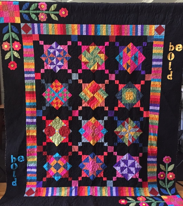 Be Bold, 75 x 90 inch quilt, by O.V. Brantley, 2015.