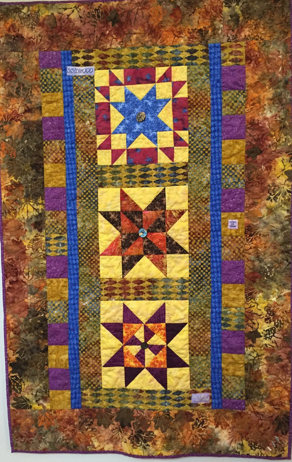Three Sisters, 38x58 inch art quilt by O.V. Brantley, 2015. For sale at ETSY.com/shop/ovbrantleyquilts