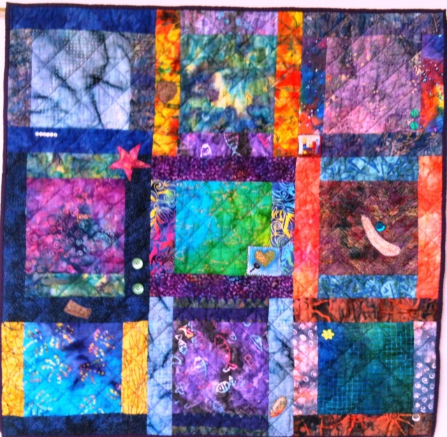 Waiting to Exhale # 3, 33 x34 inch art quilt by O.V. Brantley, 2011