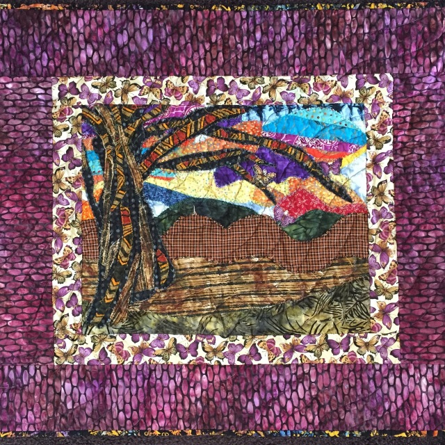 Joyful Butterflies, art quilt by O.V. Brantley, 2015.