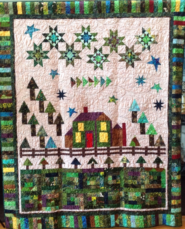 My Southside Neighborhood, 63x81 inch art quilt by O.V. Brantley, 2014.