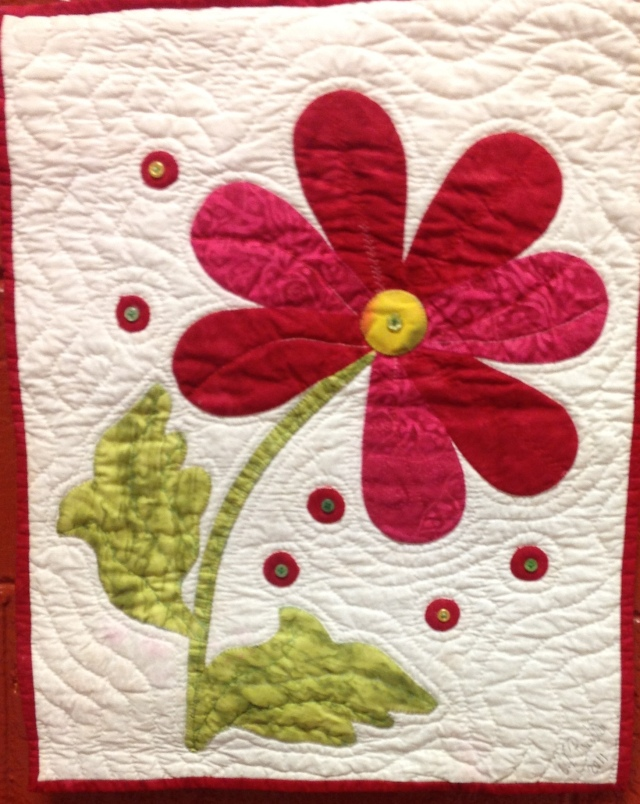 Give Yourself Flowers Today, 16x21 inch quilt by O.V. Brantley, 2016.