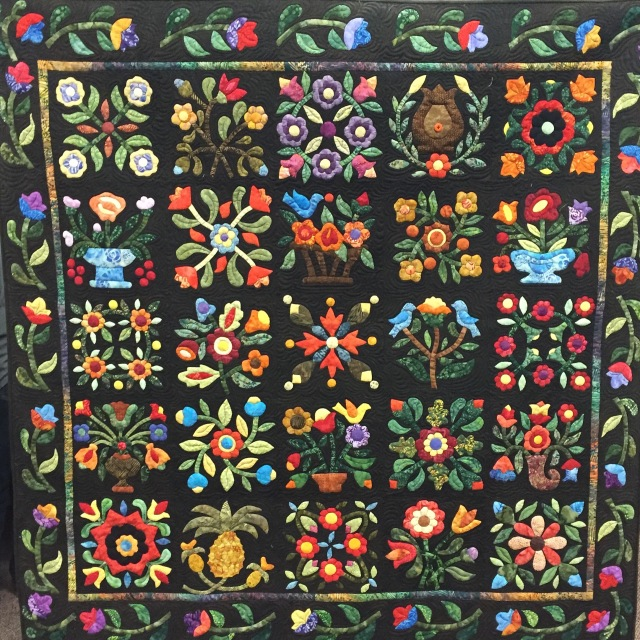 Give Yourself a Flower Garden, 60x60 inch applique quilt by O.V. Brantley, 2016.