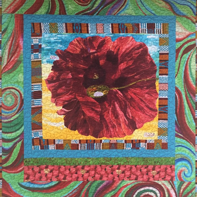 Give Yourself a Dream Flower, 38x40 inch art quilt, by O.V. Brantley, 2016. For sale at ovbrantleyquilts.com.