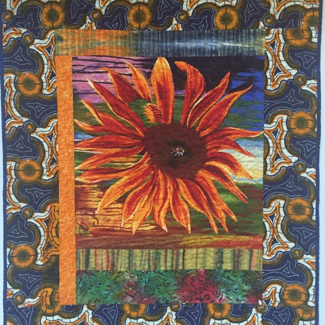 Give Yourself a Wild Flower, 36x45 inch art quilt by O.V. Brantley, 2016. For sake at ovbrantleyquilts.com